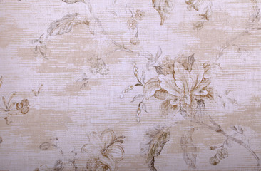 Door stickers Vintage Flowers vintage beige wallpaper with shabby chic floral pattern