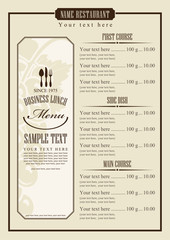 menu template with chef's hat and cutlery