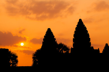 The ancient ruins of a historic Khmer temple in the temple compl