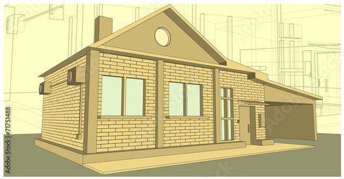 House Made Of Bricks The Background Drawing