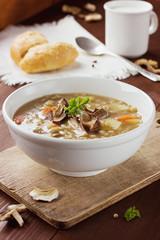 Homemade vegetarian mushroom soup with barley and vegetables