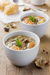 Mushroom soup with barley and vegetables in white plate
