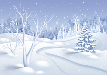 winter nature landscape illustration, holiday forest background