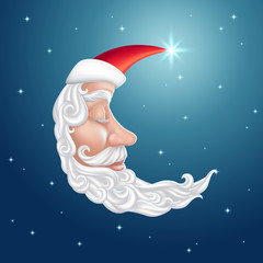 sleeping half moon face, old man, Saint Nicholas illustration