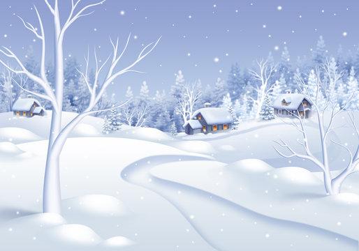 white winter village landscape illustration, holiday background