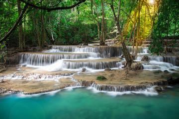 Thailand waterfall in Kanchanaburi (Huay Mae Kamin)