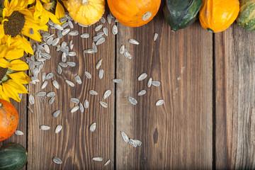 Autumn fruits on table