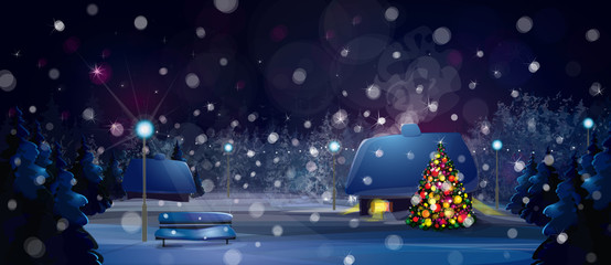 Vector winter night landscape with houses and Christmas tree.
