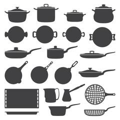vector dark grey cookware silhouette set