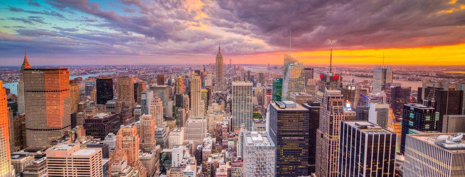 Paesaggio di città di new york con grattaciel
