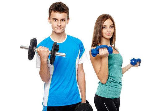 Teens doing fitness