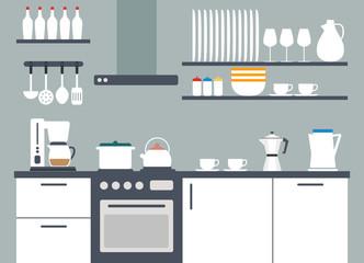 Kitchen interior, vector illustriation with icons