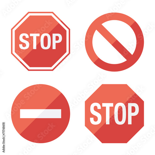 Blank Stop sign, set