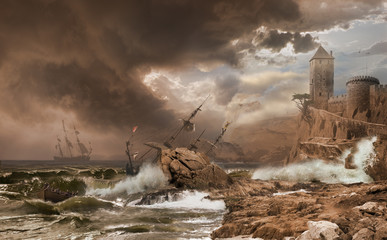 Foto auf Gartenposter Bestsellers Storm with a Shipwreck photomontage after Vernet painting