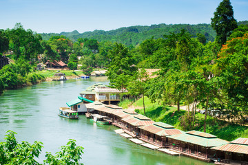 Natural View of the River Kwai at Kanchanaburi of Thailand.