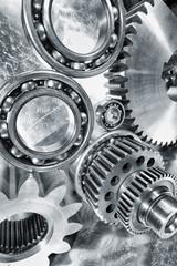cogwheels and bearings, titanium and steel endurance