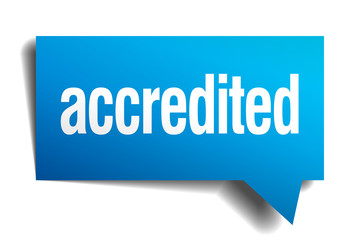 accredited blue 3d realistic paper speech bubble