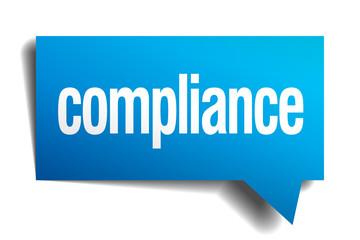 compliance blue 3d realistic paper speech bubble