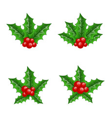 Christmas set holly berry branches isolated on white background