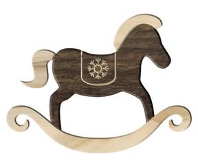 Schaukelpferd-Weihnachtsdeko aus hellem und dunklem Holz
