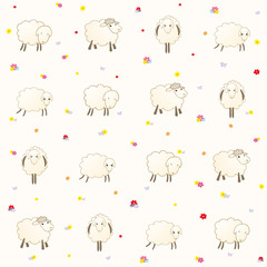 wallpaper with lambs on a gentle background