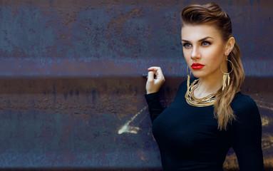 Street fashion concept. Fashion portrait of beautiful brunette i