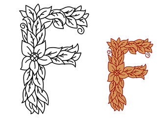 Uppercase letter F in a floral design with leaves
