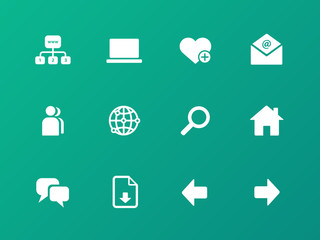 Network icons on green background.