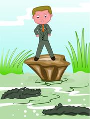 Businessman facing crocodiles in dangerous swamp