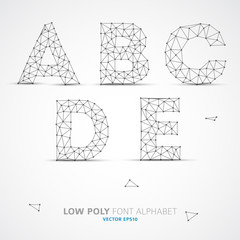 Vector low poly alphabet font