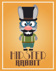 Funny hipster rabbit ,vector