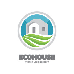 EcoHouse - vector logo. Building and ecology illustration.