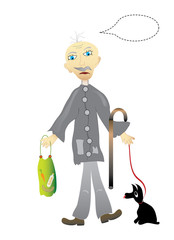 Underprivileged senior, object white isolated, format vector