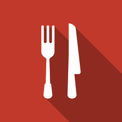 fork knife icon with long shadow