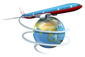 A plane travelling around the globe
