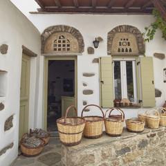 Greece, Tinos island, home shop selling rattan baskets
