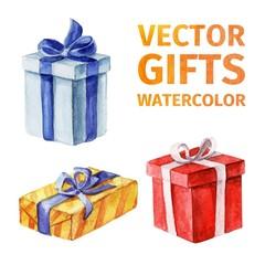 Vector gifts. watercolor 3.