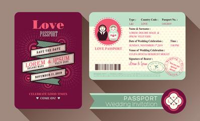 Retro Visa Passport Wedding Invitation card
