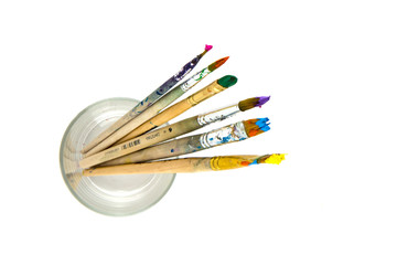 Colored brushes in the glass