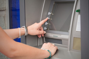 PIN number input on ATM.