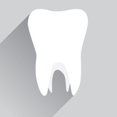 White tooth in flat design