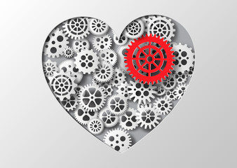 Vector illustration heart and gear.