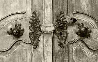 Historical vintage close up door