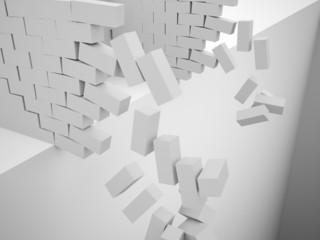 Silver demolition brick wall