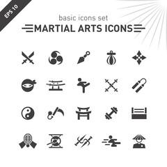 Martial arts icons set.