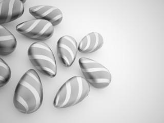 Silver easter eggs concept