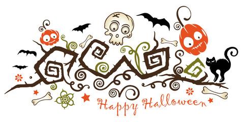 Halloween Ranke mit Kürbissen, schwarzer Katze und Fledermäusen.