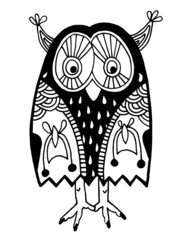 original artwork of owl, ink hand drawing in ethnic style