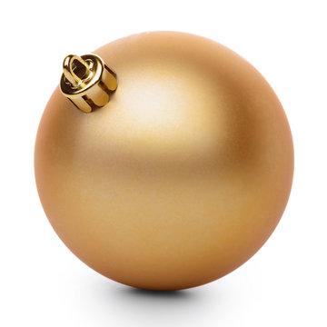 Golden christmas ball isolated on white background