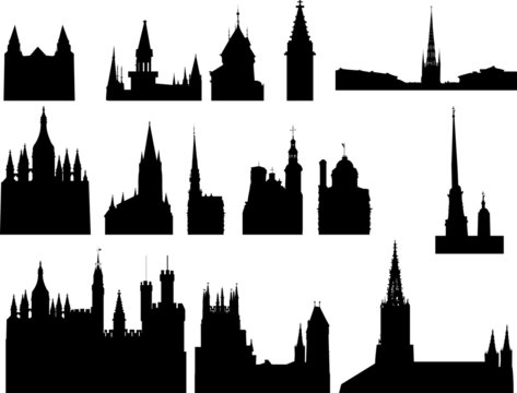 set of fourteen church and cathedral silhouettes